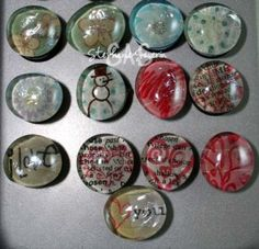 """Homemade Magnets Tutorial - Made from floral pebbles from Michael's  glue magnet to back - 3/4"""""""