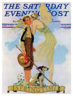 Springtime 1933 by Norman Rockwell, April 8, 1933 -  'A boy kissed by the first warm day of spring?...'