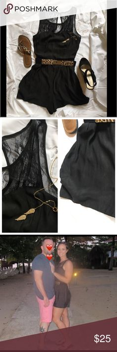 """Adorable AEO Black Lace Romper Women's Sz 8 ✨ Adorable AEO Black Lace Romper Women's Sz 8 ✨. Lace & Nylon. Dress up or down. This is a simple, yet classy """"go to"""" outfit. American Eagle Outfitters Other"""