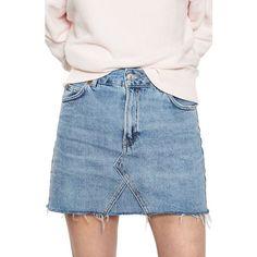 Women's Topshop Denim Miniskirt ($55) ❤ liked on Polyvore featuring skirts, mini skirts, mid denim, short mini skirts, short skirts, blue skirt, blue mini skirt and high-waist skirt
