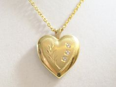 Heart Locket Pendant Necklace Embossed Gold Plated by DonnaGrayce