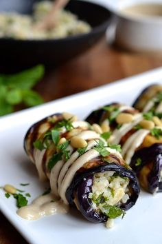 Herby Couscous Stuffed Eggplant Rolls, Food And Drinks, Herby Cauliflower Couscous Stuffed Eggplant Rolls - paleo & vegan Whole Food Recipes, Cooking Recipes, Healthy Recipes, Free Recipes, Sushi Recipes, Cheap Recipes, Easy Cooking, Tapas Recipes, Online Recipes