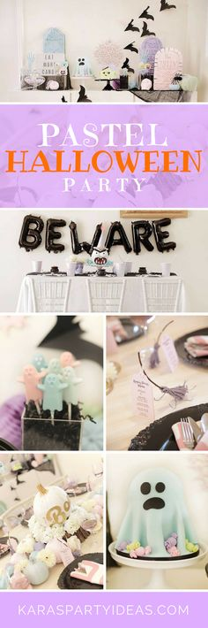 While out and about scaring today, be sure to check out this darling Pastel Halloween Party at Kara's Party Ideas! Chic Halloween, Halloween And More, Pink Halloween, Unicorn Halloween, Adult Halloween Party, Halloween Birthday, Halloween Party Decor, Holidays Halloween, Halloween Costumes For Kids