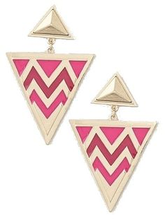 Fuchsia and Gold Triangle Post Earrings - $10.00 : FashionCupcake, Designer Clothing, Accessories, and Gifts