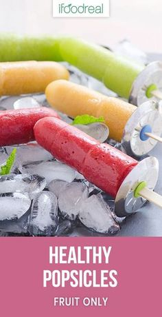 Healthy Homemade Popsicles are bright and colorful. Easy 2 ingredient fruit pops contain no added sugar. Healthy Homemade Popsicles are bright and colorful. Easy 2 ingredient fruit pops contain no added sugar. Home Made Popsicles Healthy, Homemade Fruit Popsicles, Healthy Popsicle Recipes, Real Food Recipes, Frozen Fruit Popsicles, Ice Pop Recipes, Healthy Recipes, Popsicle Recipe For Kids, Sugar Free Popsicles