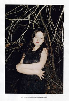 """I finally got my first look at the Meg White photos for Marc Jacobs's Spring 2006 ad campaign and all I can say is """"holy disco boobs, Batman!"""" The photo that Meg White, Jack White, The White Stripes, Detroit, Juergen Teller, Women Of Rock, White Strips, Shades Of White, White Style"""