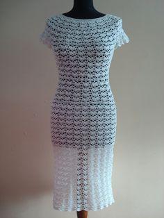 Wedding Hand crocheted dress/Romantic by SniegaKNITandCROCHET, $215.00