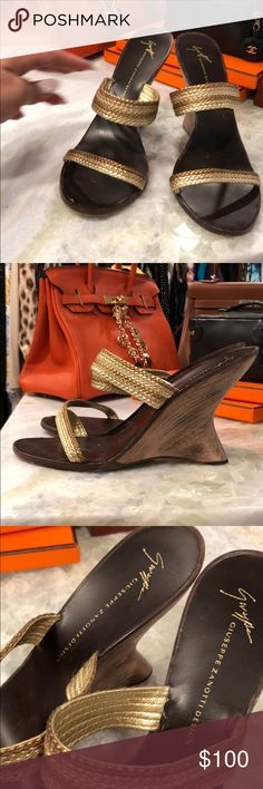 Guiseppe Zanotti Sandals 👡 heels sz 41 These are a pair of Zanotti Sandals. They were purchased in Pam Beach on Worth Ave at the Guiseppe Zanotti store. They are gold leather. In great condition. Wore them a hand full of times. Giuseppe Zanotti Shoes Heels