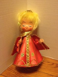 Vintage Christmas Tree Topper Angel Red