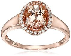 10k Rose Gold Morganite and Diamond Princess Diana Oval Halo Ring (1/10cttw, H-I Color, I1-I2 Clarity), Size 7 Amazon Collection http://www.amazon.com/dp/B014XMN5SO/ref=cm_sw_r_pi_dp_z4M1wb11Y73JF