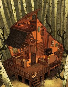 44 Super Ideas Home Illustration House Building Fantasy House, Fantasy World, Fantasy Art, Fantasy Concept Art, Environment Concept Art, Environment Design, Art Tutorial, Foto Poster, Aesthetic Art