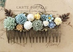 Wedding Hair Comb Sage Green Blue Gray Mint Cream Ivory Bridal Hair Accessories Leaf Flower Headpiece Bridal Hair Slide Autumn Fall WR