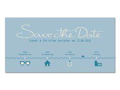 Hochzeitskarte - Save the Date - Timeline maritim von Ideenkombüse auf DaWanda.com