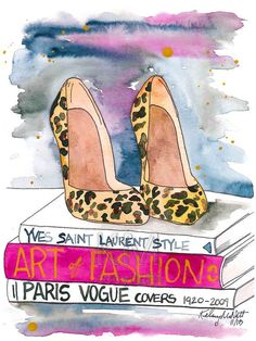 Original - Fashion Illustration Watercolor Painting 'The Leopard Heel' -- Home/office decor and wall art, Fashion prints Leopard shoes