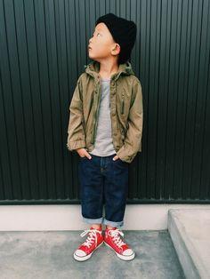 kikkiさんのスニーカー「CONVERSE CHILD ALL STAR N RBW Z HI / チャイルド オールスター N RBW Z HI」を使ったコーディネート