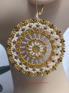Seed Bead Earrings Name: Formal Affair Mandala Earrings Seed Bead Earrings, Beaded Earrings, Seed Beads, Crochet Earrings, Beaded Bracelets, Bead Jewellery, Beaded Jewelry, Mandala Jewelry, Necklaces