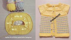 Yuvarlak roba sayıları ile birlikte ajurlu bebek örgü modeli yapılışı. Çocuklarınıza kışlık yelekler örmeye ne dersiniz? Baby Knitting Patterns, Diy And Crafts, Baby Things, Dressmaking