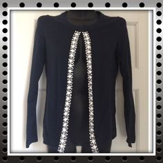 Just In  Banana Republic Cardigan Size S Embellished cardigan.  Size S.  Blue with white applications. One hook button on top. Banana Republic Sweaters Cardigans