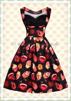 Lady Vintage 50er Jahre Vintage Cupcake Kleid - Madison - Schwarz Pink  Retro Rockabilly Petticoat Kleid mit Tee & Cupcake Print in schwarz Aus Baumwoll Jersey - Hergestellt in Großbritannien