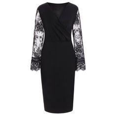 Lace Insert Plus Size Surplice Dress - BLACK 6XL