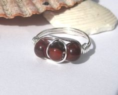 Gemstone trio ring, carnelian, wire wrapped cocktail ring by SunshineDaydreamz, $14.00
