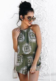 Cute green and white print romper. Boho Romper 6a8fb77dc268