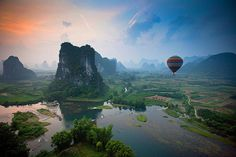Yangshou, China - So breathtaking by water, I had never consider seeing it by air.  WOW!