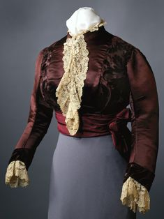 Brown satin bodice with lace and velvet trimmings, ca. 1880. Designed by House of Worth, worn by Julia Dent Grant, wife of President Ulysses S. Grant. Missouri Historical Society Collections. #vintage #stlstyle #victorian #victorianfashion #fashion #stlouis