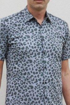 1d9ce1e228e Baïsap - Camisa leopardo hombre, gris - manga corta - Camisas hombre  entalladas - estampadas