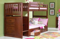 DC Twin Over Twin Mission Stair Step Bunk Bed in Merlot