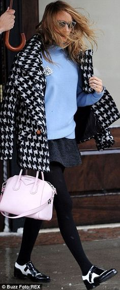 Blake Lively wearing Wolford Black Winter Soft Logic Tights Givenchy Small Antigona Duffel Smythe Houndstooth Car Coat ISABEL MARANT Freja merino wool-felt mini skirt Stella McCartney 4027 Patterned Clear Sunglasses
