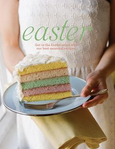 Easter cake (coconut pound cake w/coconut cream frosting + passion fruit curd)