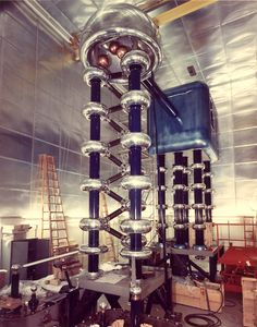 This may look like an old science fiction movie set, but this machine actually played a key role in multiple Nobel Prizes. Starting in 1960, Brookhaven Lab's Cockroft-Walton Accelerator—essentially a multi-level voltage multiplier—provided the initial boost to protons before they raced on into the rings of our Alternating Gradient Synchrotron.
