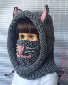CAT HOOD WITH COWL is super cute, comfy, stylish + extra functional both for boys and girls. It is hood, cowl, neck warmer, ear warmer and even nose warmer: )) all in one. In cold and windy weather pull up the cowl and cover mouth, nose and ears…great way to protect your kids or yourself from ear infection or catching a cold. If the weather is good pull the cowl under your chin. You can make this pattern for anyone. This pattern is age free…... <3 This is a bulky yarn pattern and you will...