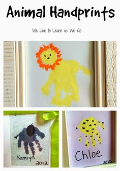 Cute zoo animal themed handprints that are perfect as a keepsake or Mother's Day gift.  Simple, but so fun!  My kids are going to love seeing these when they're older! www.weliketolearnaswego.com