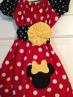 Peasant dress with Minnie size 6 months up to size by CruzsDesigns, $27.50