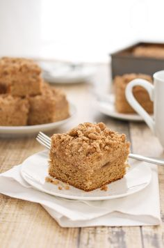 Coffee Cake with Crumble Topping and Brown Sugar Glaze {Sweet Pea's Kitchen}