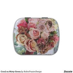 Coral on Misty Green Jelly Belly Candy Tin