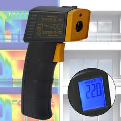 """Unser Infrarot Thermometer TM-956 ist ein hochwertiges, handliches und sehr genaues Pistolengriff-Gerät und mißt """"mit einem Schuß"""" ohne Berührung die Oberflächentemperatur eines jeden Gegenstandes zum Beispiel die Temperatur von Motoren, Bremsen, Heizsystemen, Öfen oder Kühlschränken. Digital Alarm Clock, Check, Building Renovation, Heating Systems, Ultrasound"""