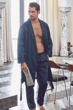 David Gandy dons a robe and pajamas from his spring-summer 2017 Autograph collection for Marks & Spencer.