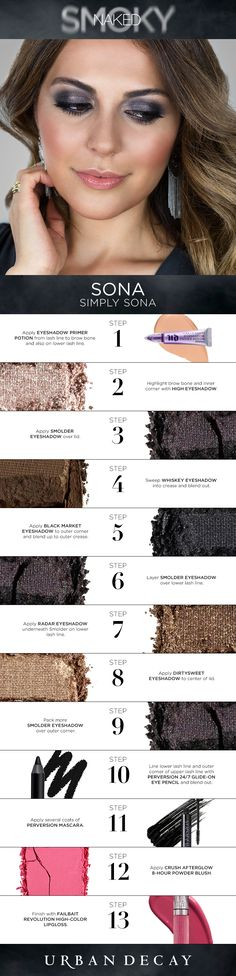 "Naked Smoky Palette tutorial: ""I love the rock 'n' roll vibe I get from this Naked palette. It's the perfect smoky-eye palette with a gorgeous range of shades. Love Makeup, Gorgeous Makeup, Makeup Tips, Beauty Makeup, Makeup Looks, Hair Beauty, Makeup Tutorials, Drugstore Beauty, Makeup Stuff"