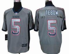 Nike New England Patriots 5 tim tebow Grey Elite Drift Fashion Jersey $ 22.5