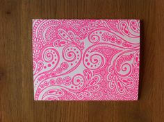 Letterpress Hot Pink Henna Note Cards title Creative by PaperJules, $4.50