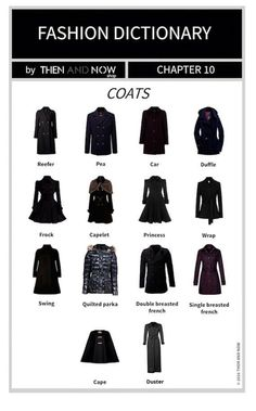 If you're stuck on what to finish your outfit with this autumn, we have designed a Types of Coats Infographic so you won't get stumped. Fashion Terminology, Fashion Terms, Fashion 101, Fashion History, Look Fashion, Fashion Outfits, Womens Fashion, Bustier Lingerie, Fashion Infographic