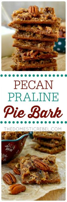 This Pecan Praline Pie Bark is a delightfully unique mix between gooey pecan pie and melt-in-your-mouth Southern praline candy. Easy to make, only 5 ingredients and makes for great gifts or snacks!