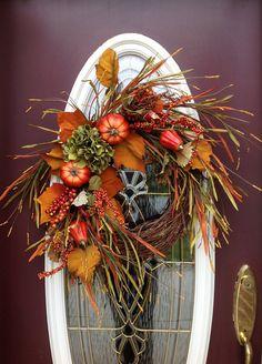 "Fall Autumn Thanksgiving Grapevine Door Wreath Decor..""Fall Harvest""via Etsy."