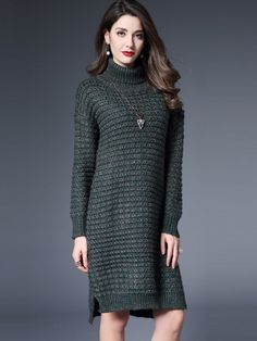 [ad] The Green High Neck Side Splits Knitted Dress will be your new go-to sweater dress.