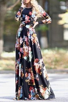 Colorful Floral Print Long Sleeve Dress