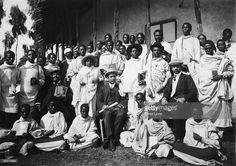 Future Emperors of Ethiopia Haile Selassie I (1892 - 1975) and Iyasu V (1887 - 1935) at school in Harar, circa 1905. Haile Selassie is standing to the right, marked with one cross on his chest, and Iyasu is to the left, with two crosses.