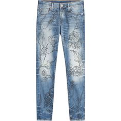 True Religion Halle Jeans ($260) ❤ liked on Polyvore featuring jeans, blue, blue wash jeans, print jeans, slim blue jeans, embellish jeans and slim fit jeans